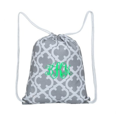 32627-GREY QUATREFOIL DESIGN DRAWSTRING BACK PACK BAG