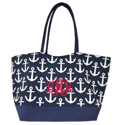 32645-NAVY MULTI ANCOR DESIGN SHOPING BAG/ BEACH BAG