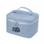 6004 - NAVY SEER SUCKER COSMETIC BAG