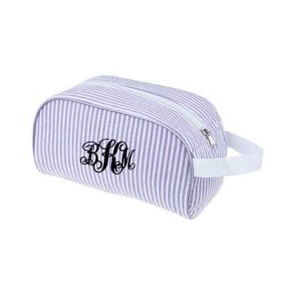 6048 - PURPLE COTTON SEERSUCKER COSMETIC BAG