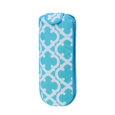 6055 - AQUA QUATREFOIL INSULATED FLAT OR CURLING IRON HOLDER