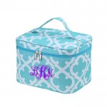 6057 - AQUA QUATREFOIL DESIGN COSMETIC BAG