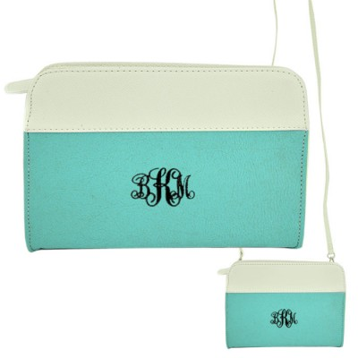 9015- AQUA/WH PU LEATHER CROSS BODY/ SHOULDER BAG