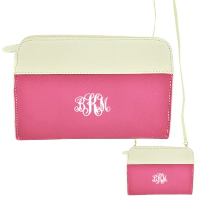 9015- HP/WH PU LEATHER CROSS BODY/ SHOULDER BAG