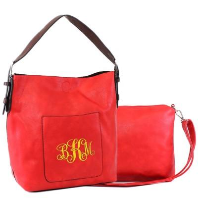 9031 - CORAL PU 2PC LEATHER HANDBAG  W/RED SHOULDER BAG