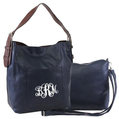 9031 - NAVY PU 2PC LEATHER HANDBAG  W/NAVY SHOULDER BAG