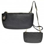 9043 - BLACK  PU LEATHER WRISTLETS / CROSS BODY BAG