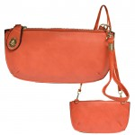 9043 - CORAL PU LEATHER WRISTLETS / CROSS BODY BAG