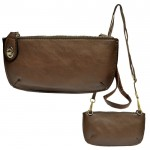 9043 - BROWN PU LEATHER WRISTLETS / CROSS BODY BAG
