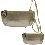 9043 - SILVER PU LEATHER WRISTLETS / CROSS BODY BAG