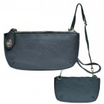 9043 - NAVY PU LEATHER WRISTLETS / CROSS BODY BAG