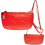 9043 - RED PU LEATHER WRISTLETS / CROSS BODY BAG