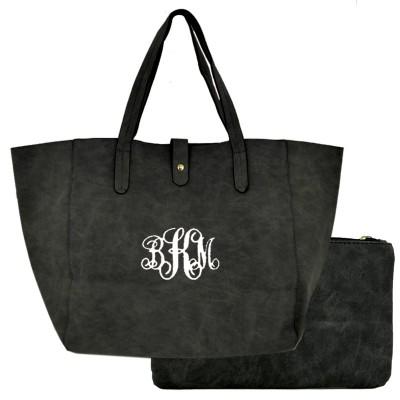 9055 -BLACK 2 PC PU LEATHER SHOULDER BAG