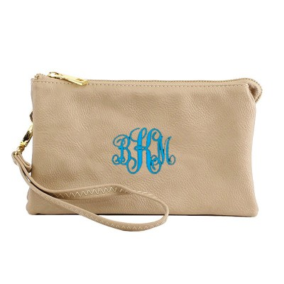 9065- CREAM PU LEATHER TRI POCKET CLUTCH / CROSS BODY BAG