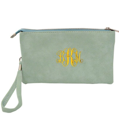 9065- MINT PU LEATHER TRI POCKET CLUTCH / CROSS BODY BAG