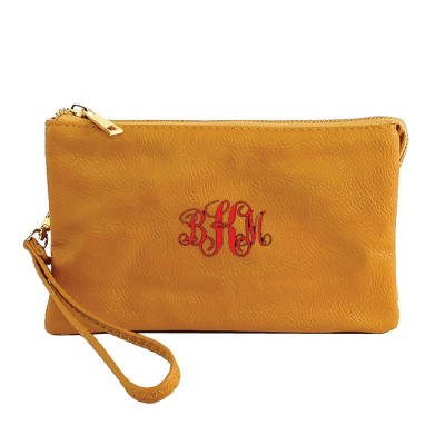 9065- MUSTARD PU LEATHER TRI POCKET CLUTCH / CROSS BODY BAG