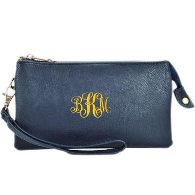 9065- NAVY BLUE PU LEATHER TRI POCKET CLUTCH / CROSS BODY BAG