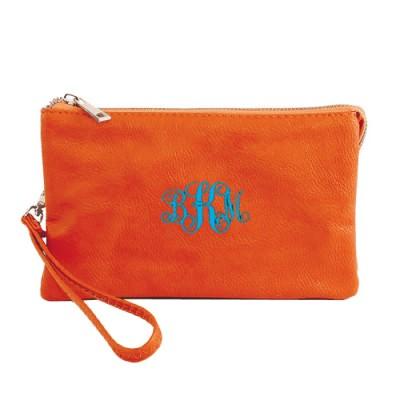 9065- ORANGE PU LEATHER TRI POCKET CLUTCH / CROSS BODY BAG