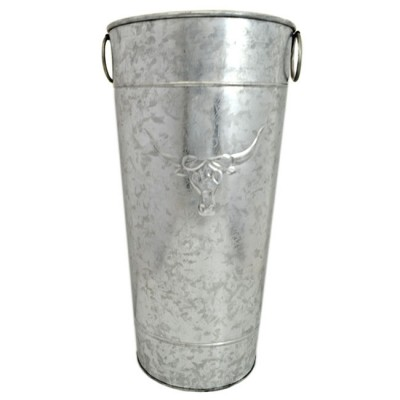 1006L-TUB ROUND TALL UMBRELLA STAND LONGHORN SILVER