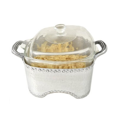 3515-HAMMERED SQUARE CASSEROLE HOLDER W/GLASS