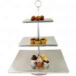 3521-HAMMERED 3 TIER SQUARE FRUIT OR CUP CAKE STAND