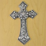 7007SIL-CL-CLEAR CRYSTAL / SILVER WALL CROSS / W STAR