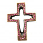 7010-COP-PK- CRYSTAL CROSS COPPER W/PINK STONE