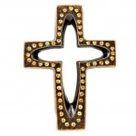 7010-COP-AM- CRYSTAL CROSS COPPER W/AMBER STONE