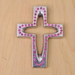 7010-SIL-PK- CRYSTAL CROSS SILVER W/PINK STONE