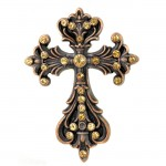 7017-COPPER FDL WALL CROSS W/AMBER STONE