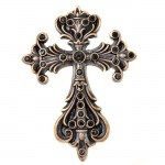 7017-COPPER FDL WALL CROSS W/BLACK STONE