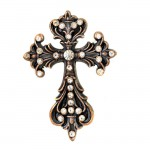 7017-COPPER FDL WALL CROSS W/CLEAR STONE