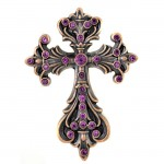 7017-COPPER FDL WALL CROSS W/PURPLE STONE