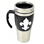 901226-BLACK/STAINLESS STEEL COFFEE MUG STAINLESS STEEL W/FDL