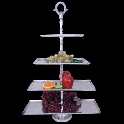 3490-HAMMERED 4 TIER FRUIT STAND W/HANDLE