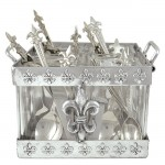3539 - FLEUR DE LIS UTENSIL CARRIER W/GLASSES