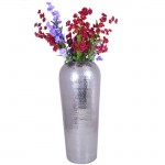 "80046-ROUND VASE 17"" W/HAMMERED DESIGN"
