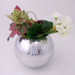 "ROUND 6"" FLOWER VASE W/HAMMERED DESIGN"