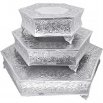 80060-HEXAGON SHAPE CAKE PLATEAU SET/3
