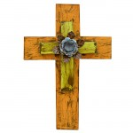 1270 - ORANGE & GREEN DOUBLE LAYER CROSS W/TURQ FLOWER