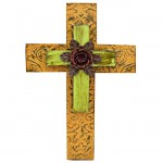 1271 - ORANGE & GREEN DOUBLE LAYER CROSS W/RED FLOWER