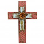 1272 - RED & TURQ DOUBLE LAYER CROSS W/LIGHT ORANGE FLOWER