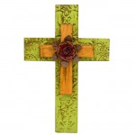 1274 -DAMASK GREEN & ORANGE DOUBLE LAYER CROSSES W/RED FLOWER (METAL)