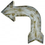 1293 - WALL HANGING VINTAGE TURQUOISE ARROW SIGN (METAL)