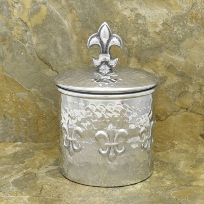 3569 - ROUND FDL HAMMERED CANISTER W/LID