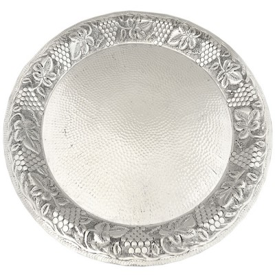 180098-ROUND PUNCH BOWL PLATE GRAPES W/HAMMERED DESIGN