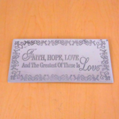 23790 - WALL PLAQUE - FAITH , HOPE , LOVE