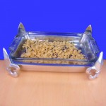 22685 -9x13 FLEUR DE LIS PYREX HOLDER WITH GLASS