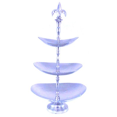 3388 - HAMMERED OVAL 3 TIER FRUIT STAND