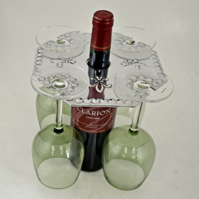 3507 - WINE GLASS HOLDER W/FLEUR DE LIS